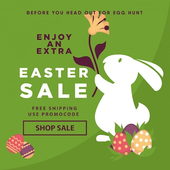 Easter sale web poster template