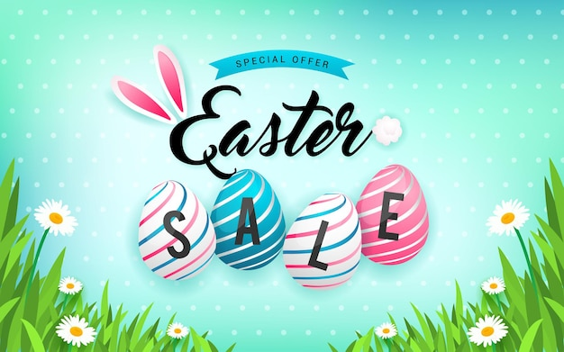 Easter sale with easter eggs on spring meadow and polka dot gradient background
