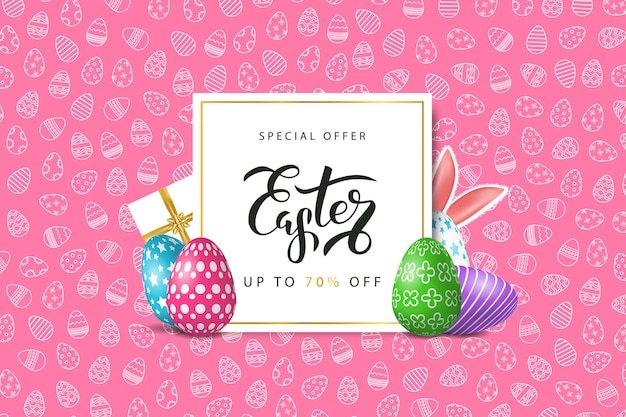 Easter sale with eggs and rabbit ears. concept of happy easter.