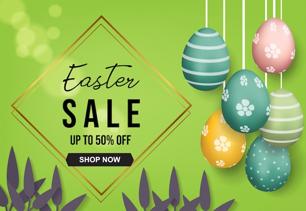 Easter sale with hanging 3d eggs background