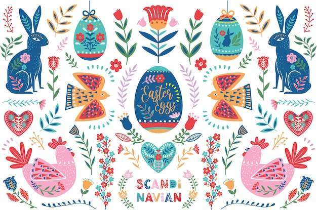 Easter scandinavian folk art collection set