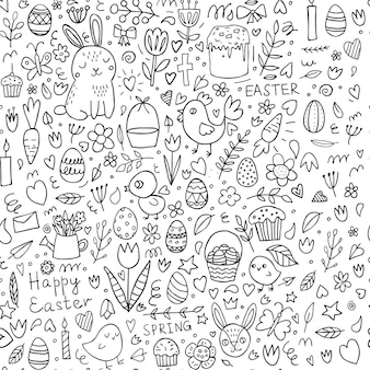 Easter seamless doodle pattern