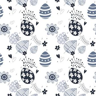 부활절 원활한 꽃 패턴입니다. 손으로 그린 끝없는 꽃 질감. 평면 디자인. 벽지, 섬유, 웹사이트 디자인에 사용됩니다.