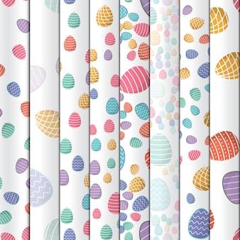 부활절 완벽 한 패턴입니다. 기하학적 패턴이있는 색 계란은 배경 벽지로 포장지에 사용할 수 있습니다.