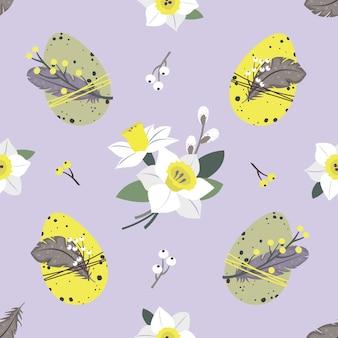 イースターのシームレスなパターン:卵、水仙、小枝、柳。