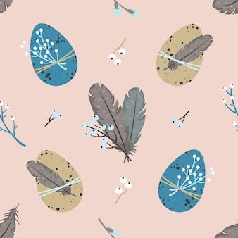 イースターのシームレスなパターン:卵、羽、小枝、柳。