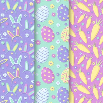 Easter seamless pattern hand drawn with carrots and eggs