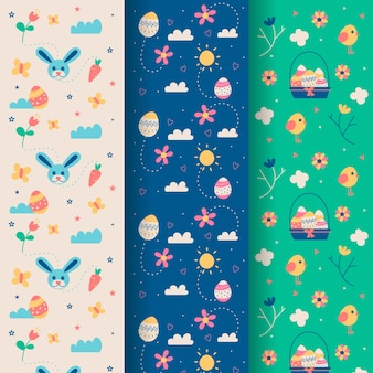 Easter seamless patternhand drawn with flowers and rabbits