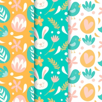 Easter seamless pattern hand drawn with hearts and rabbits