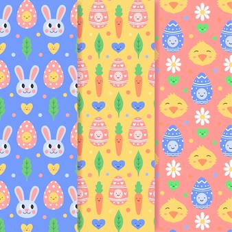 Easter seamless patternhand drawn with rabbits and chickens