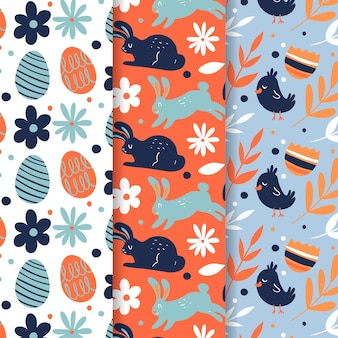 Easter seamless pattern hand drawn with rabbits and eggs