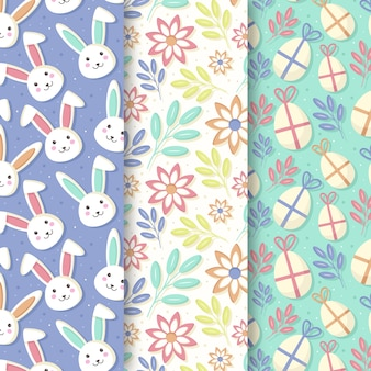 Easter seamless pattern hand drawn wrapped eggs