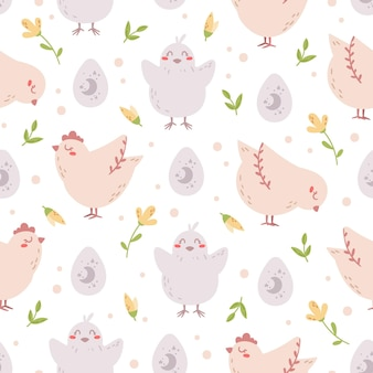 Easter seamless pattern in pastel colors