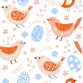 Easter seamless pattern with birds, eggs, flowers and leaves.