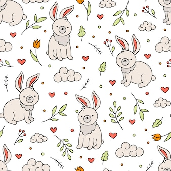Easter seamless pattern with bunnies and hearts in doodle style