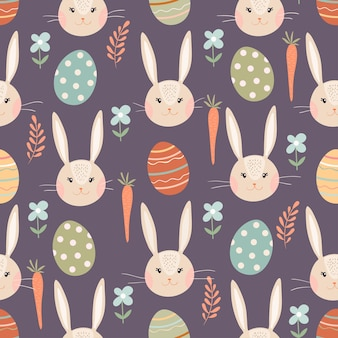 Easter seamless pattern with bunny, eggs and carrots, seasonal spring time design