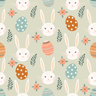 Easter seamless pattern with bunny, eggs and flowers, seasonal design
