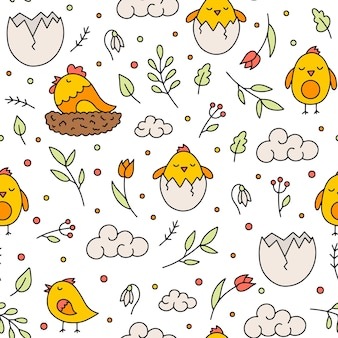 Easter seamless pattern with chickens and flowers in doodle style
