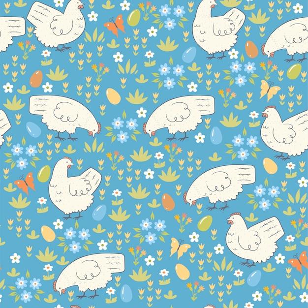 닭과 부활절 완벽 한 패턴입니다.
