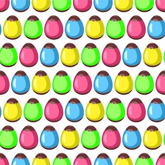カラフルな卵をイースターシームレスパターン