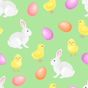 Easter seamless pattern with cute hare, baby chickens and colored eggs.