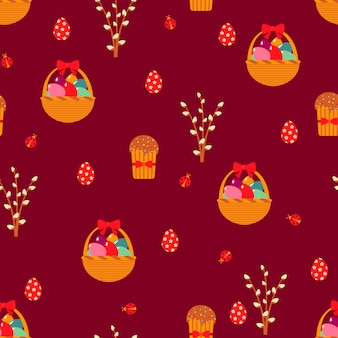 Easter seamless pattern with eggs and cakes.