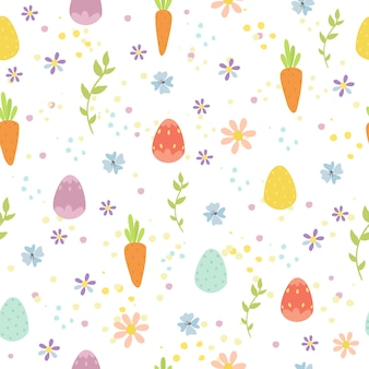 Easter seamless pattern with eggs and carrots