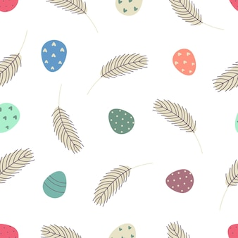 Easter seamless pattern with eggs and feathers