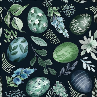 Easter seamless pattern with eggs and floral elements