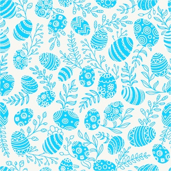 Easter seamless pattern with eggs and spring flowers