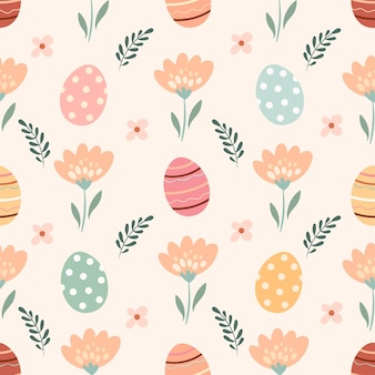 Easter seamless pattern with flowers and eggs, pastel colors, seasonal design