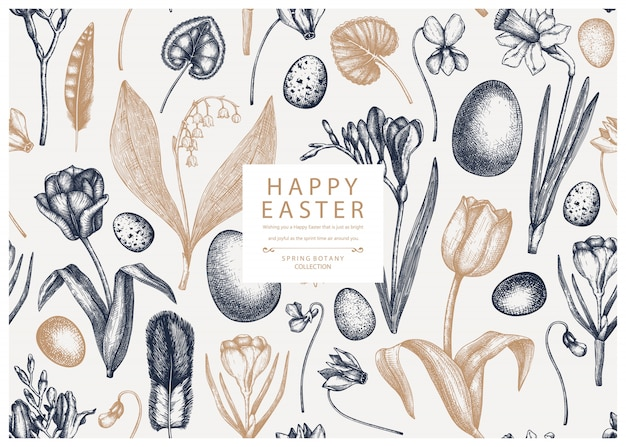 Easter seamless pattern. with spring flowers, bird feathers, eggs and floral elements. hand drawn botanical illustrations.   easter invitation or greeting card template.