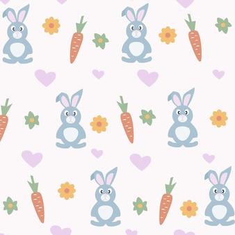 귀여운 토끼와 부활절 완벽 한 패턴입니다.