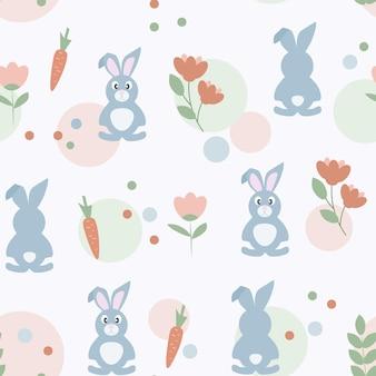 かわいいウサギとイースターのシームレスなパターン。