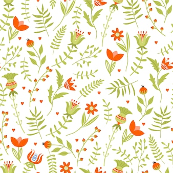 Easter seamless pattern with various flowers and leaves.