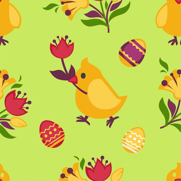 Easter seamless pattern with yellow chicken and eggs