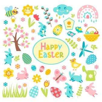 부활절 세트 계란 치킨 나비 토끼 튤립 꽃 버드 나무 가지 바구니 수선화