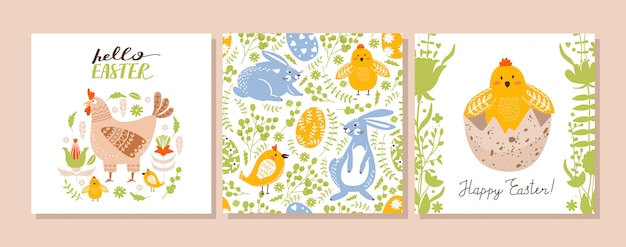 Easter set of greeting card.