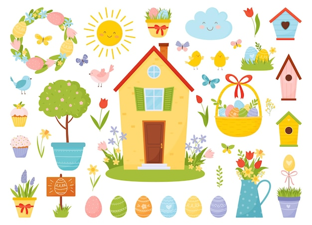 Easter set with birds, eggs, sweet cupcakes, spring flowers and other spring elements