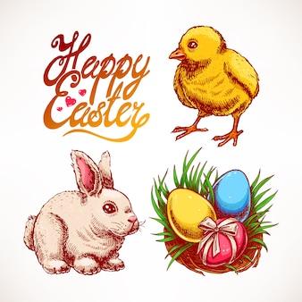 かわいいウサギ、鶏肉、色付きの卵の巣が付いたイースターセット。手描きイラスト