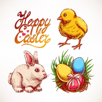 Easter set with cute rabbit, chicken and nest with colored eggs. hand-drawn illustration
