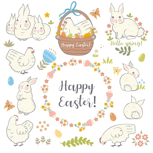 Easter set with rabbits and chickens.