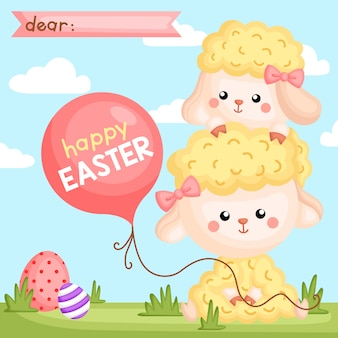 Easter sheep holding balloon card