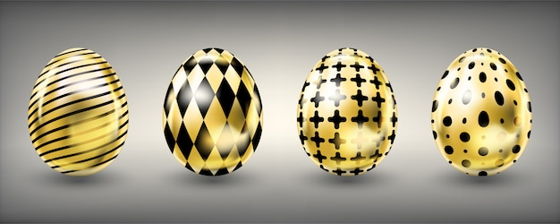 Easter shiny golden eggs with black ornate