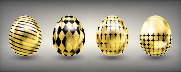 Easter shiny golden eggs with rumb and cross