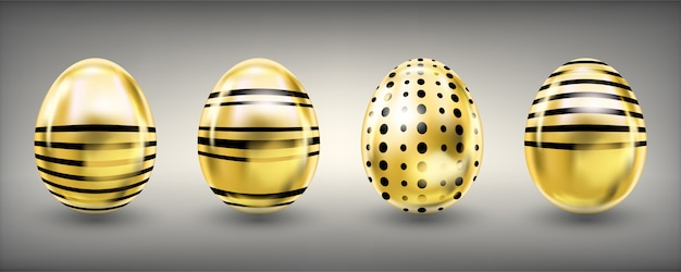 Easter shiny golden eggs with stripes and crosses
