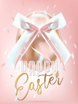 Easter shiny pink egg with silk bow in confetti