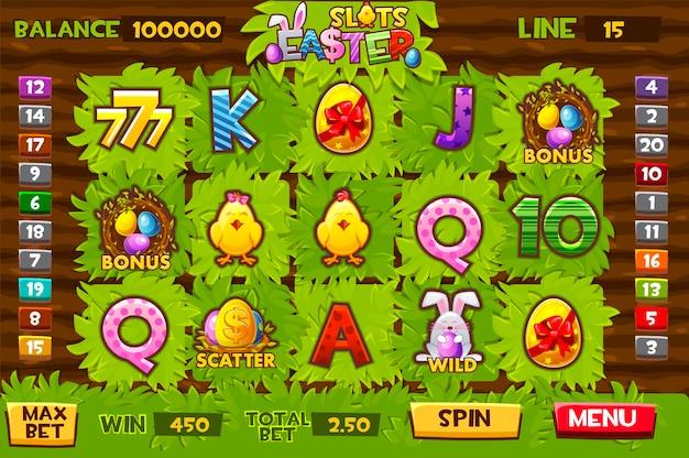 Пасхальные слоты, садовые слоты для игр с графическим интерфейсом. векторная иллюстрация пользовательского игрового окна праздник фермы.