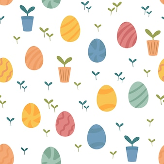 Easter spring cartoon pattern with eggs, potted plants and offsprings
