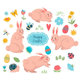 Easter spring collection of bunnies and cute elements.